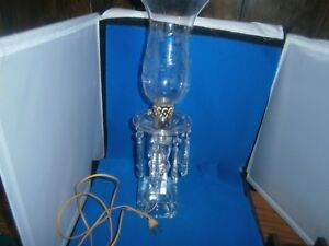 Crystal Mantle Boudior Hurricane Lamp Prisms Cut Glass Shades