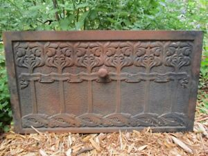 Antique Cast Iron Stove Door Grate Arts Crafts 20 Long 1800s
