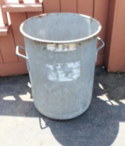 Large 25 Primitive Galvanized Rain Barrel Bucket Pick Up Only