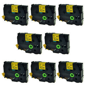 8pk Tz 641 Label Tape Black On Yellow Tze 641 For Brother P touch Pt 1880 18mm