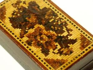 C1870 Tunbridge Ware Inlaid Micro Mosaic Floral Sewing Needle Case Box