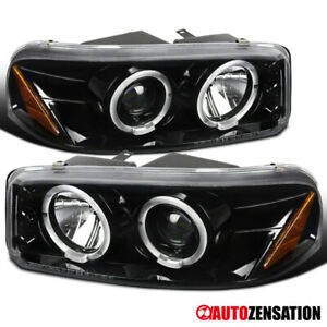 For 2000 2006 Gmc Sierra Yukon Denali Slick Black Led Halo Projector Headlights