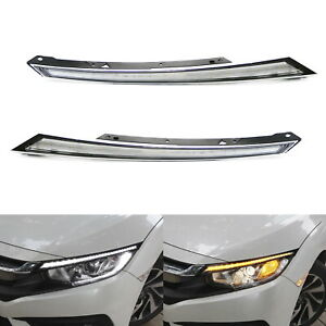 Switchback Led Headlight Eye Lid Drl Lamp W Dynamic Turn Signal For 16 up Civic
