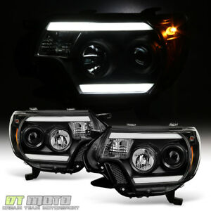 For Black 2012 2015 Toyota Tacoma Led Optic Drl Tube Projector Headlights 12 15