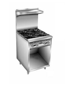 Comstock Castle F32 24b 24 Gas Range W 24 Raised Griddle Open Cabinet Base
