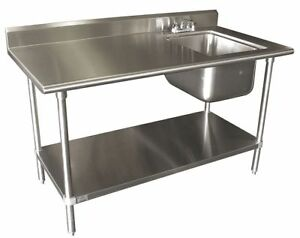 Advance Tabco 60 x30 Stainless Work Table W Prep Sink Stainless Shelf