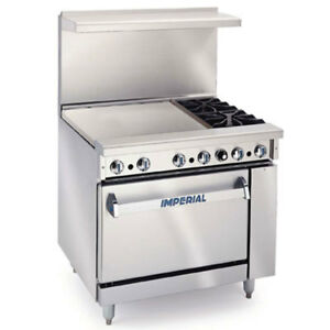Imperial Range 36in Restaurant 2 Gas Burner Range W 24in Griddle Oven
