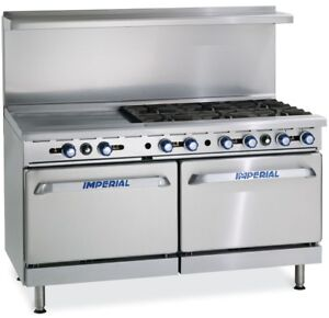 Imperial Range 60in Gas Restaurant 6 Burner Range W 24in Griddle