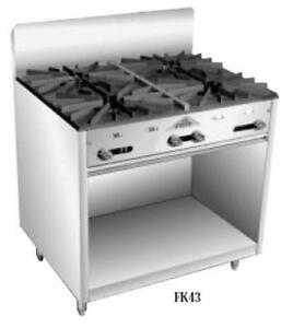 Comstock Castle Fk43 36 Stock Pot Commercial Range 4 Burner W Storage Base