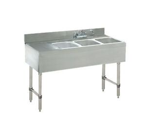Advance Tabco 3 Comp S s Underbar Hand Sink W Faucet 9 Left Drainboard
