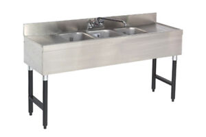 Advance Tabco Slb 63c x 72 3 compartment Underbar Sink Unit W 18 Drainboard