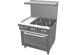 Southbend S36d 1gl 36 Gas 4 Burner Restaurant Range Std Oven 12 Griddle Left
