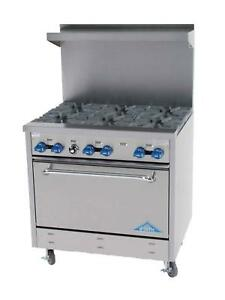 Comstock Castle 36 Commercial Gas Range W 4 Burners 12 Radiant Broiler