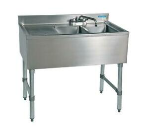 Bk Resources 2 Compartment 36 Wide Underbar Sink With Left Drainboard