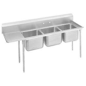 Advance Tabco 3 Compartment Sink 18 Gauge 16 x20 Bowls 18 Drainboard