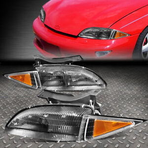 For 95 99 Chevy Cavalier Pair Black Housing Amber Corner Driving Headlight lamps