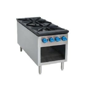 Comstock Castle 2csp18 18 Gas Stock Pot Stove Range 2 Burners Front To Back