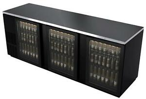 Bk Resources Bb 3g 95 95 Glass Back Bar Cooler W Black Vinyl Exterior