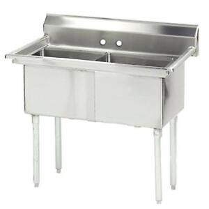 Advance Tabco 2 Compartment Sink 16 Gauge 24 X 24 X 14 Bowls Stainless