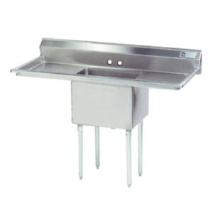 Advance Tabco 1 Compartment Sink 18 x18 x12 Bowl S s Two 18 Drainboards