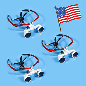3pcs Usa New Dental Surgical Binocular 3 5x Loupes Optical Glasses Magnifier Red