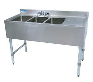 Bk Resources 3 Compartment 48 Wide Underbar Sink With Right Drainboard