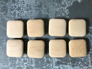 Set Of 8 Mid Century Modern Square Wooden Drawer Pulls Knobs 2 5