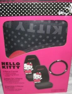 Hello Kitty Car 2 Seat Covers Steering Wheel Cover Set Interior Accessories