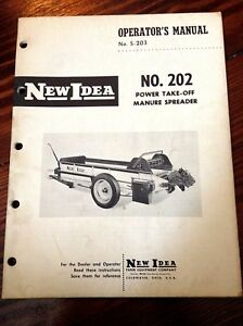 New Idea Operators Manual For No 202 Power Take off Manure Spreader s 198 203