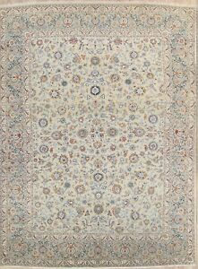 Antique All Over Floral Sage Green 10x14 Kashan Persian Oriental Area Rug Wool