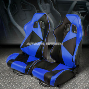Pair Black blue Reclinable Pvc Leather Triangle Design Racing Seats W slider