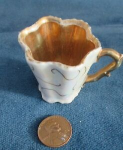 Miniature Porcelain Iridescent Scalloped Gold Lined Demitasse Cup