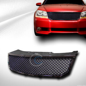Fit 08 10 Dodge Avenger Glossy Blk Mesh Front Hood Bumper Grill Grille Guard Abs