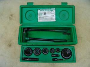 Greenlee 1806 Ratcheting Knockout Punch Kit 1 2 Thru 2 Works Great