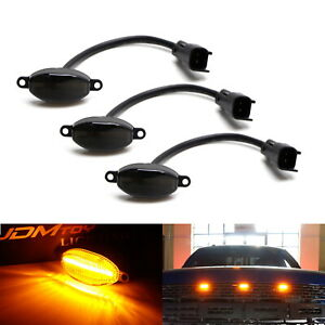3pcs Smoked 12 smd Amber Yellow Led Front Grille Running Lights For Ford Raptor