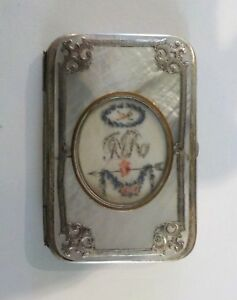 19th C Mother Of Pearl Needle Case Sterling Silver Trim