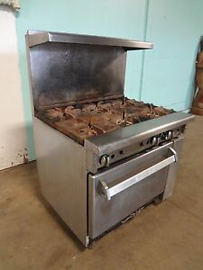 Heavy Duty Commercial imperial Natural Gas 6 Burners Stove Ran