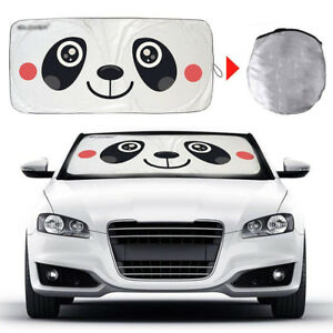 Panda Foldable Jumbo Sun Shade Suv Front Window Car Visor Windshield Block Cover