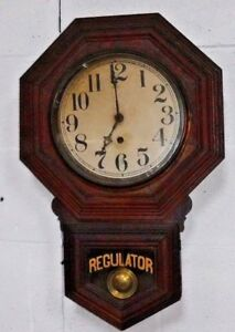 Antique 8 Day Sessions Schoolhouse Wall Clock Regulator Working Forestville Conn