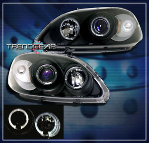 1999 2000 Honda Civic Halo Projector Headlights Jdm Black Cx Dx Ex Hx Si 2 3 4dr