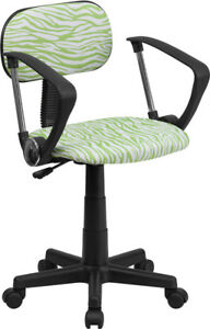 Flash Low Back Green And White Zebra Print Swivel Office Task Chair With Arms