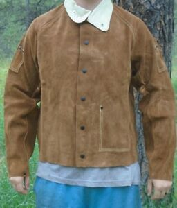 New 26 Leather Welding Jacket Size Large With Leather Collar