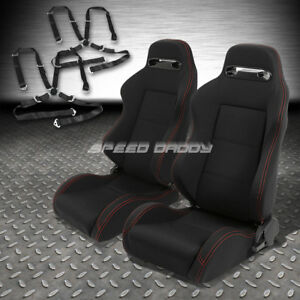 2x Type R Black Canvas Reclinable Racing Seat 4 Point Black Harness Camlock Belt