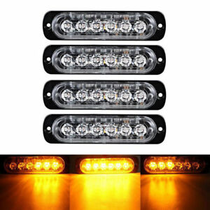 Amber 4x 6 Led Car Truck Emergency Beacon Warning Hazard Flash Strobe Light Bar