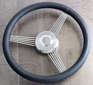 14 Inch Leather Banjo Steering Wheel Stainless Steel Classic Vintage Hot Rod