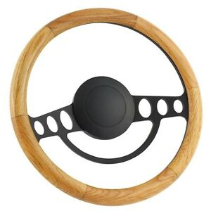70 79 Ford Ranchero 14 Inch Black 9 Hole Classic Steering Wheel Oak Wood Ha