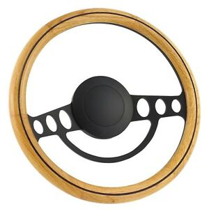 67 69 Ford Galaxie 14 Inch Black 9 Hole Classic Steering Wheel Oak Wood Wit