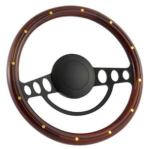 67 69 Fordltd 14 Inch Black 9 Hole Classic Steering Wheel Mahogany Wood Wit