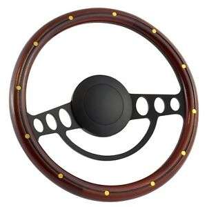70 79 Ford Ranchero 14 Inch Black 9 Hole Classic Steering Wheel Mahogany Wo