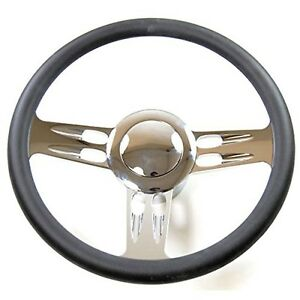 Hot Rod Three Spoke Chrome Black Leather Steering Wheel For Chevy Gm Column